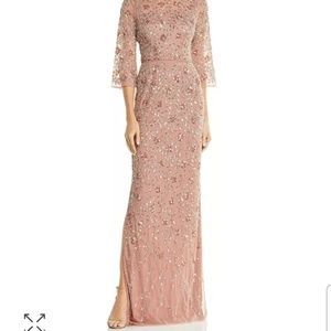 Aidan mattox rose gold embellished boatneck gown